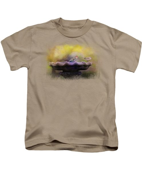 Finches On The Bird Bath Kids T-Shirt by Jai Johnson