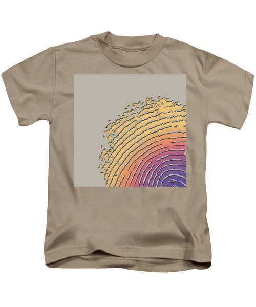 Giant Iridescent Fingerprint On Beige Kids T-Shirt