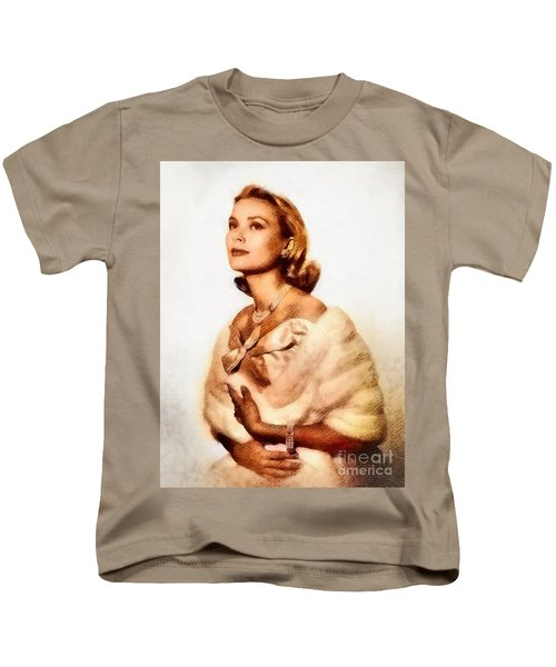 Grace Kelly, Vintage Actress By John Springfield Kids T-Shirt by John Springfield