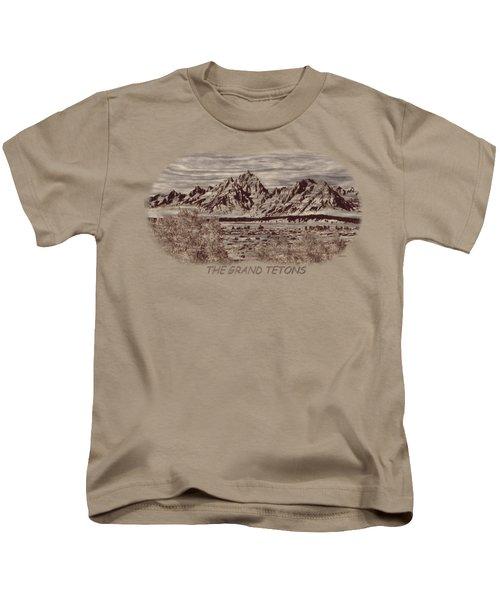 Grand Tetons Woodburning 2 Kids T-Shirt by John M Bailey