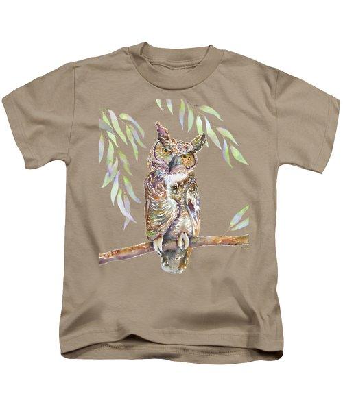 Great Horned Owl  Kids T-Shirt by Amy Kirkpatrick