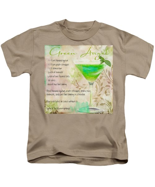 Green Angel Mixed Cocktail Recipe Sign Kids T-Shirt by Mindy Sommers