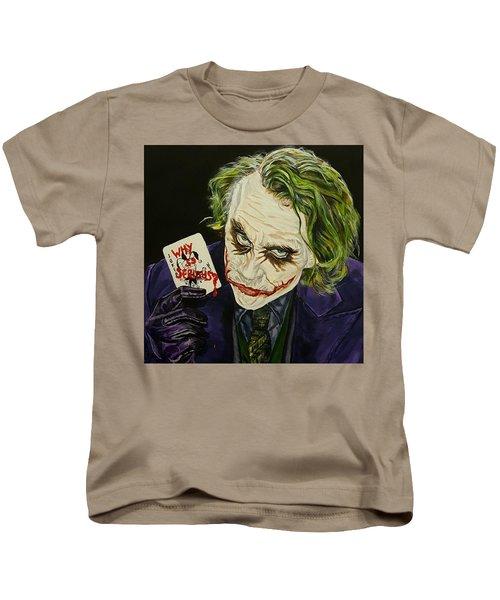 Heath Ledger The Joker Kids T-Shirt by David Peninger