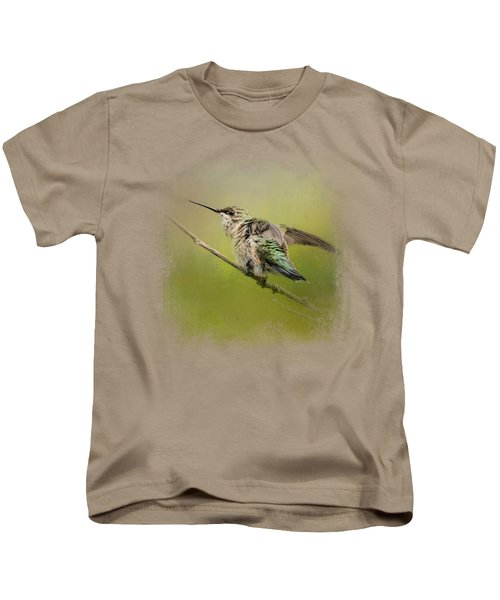 Hummingbird On Lime Kids T-Shirt