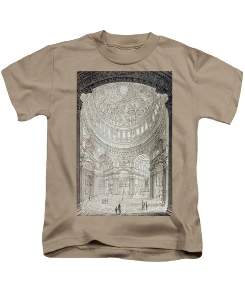 Interior Of Saint Pauls Cathedral Kids T-Shirt by John Coney