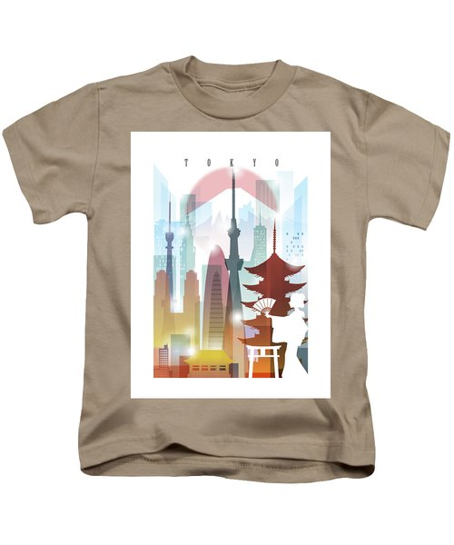 Japan Tokyo 2 Kids T-Shirt by Unique Drawing
