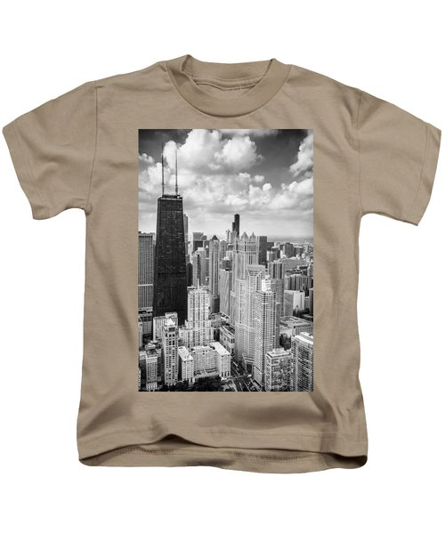 John Hancock Building In The Gold Coast Black And White Kids T-Shirt by Adam Romanowicz