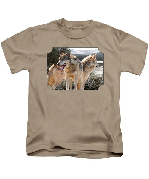 Keeping Watch - Pair Of Wolves Kids T-Shirt by Gill Billington