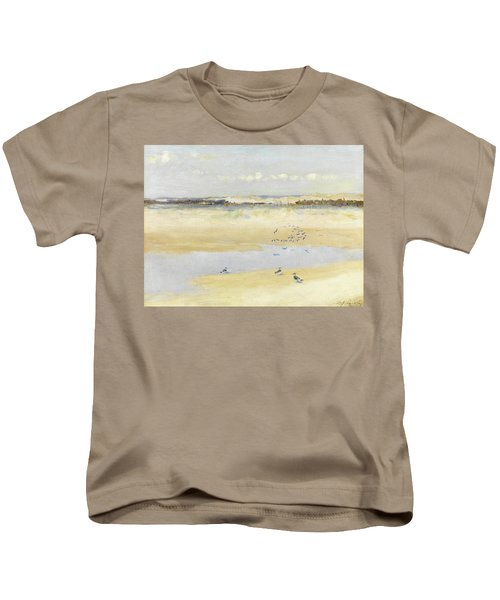 Lapwings By The Sea Kids T-Shirt by William James Laidlay