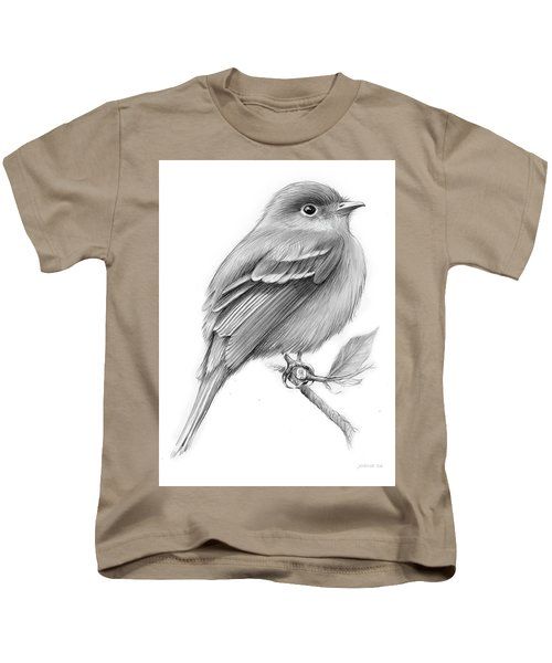 Least Flycatcher Kids T-Shirt by Greg Joens