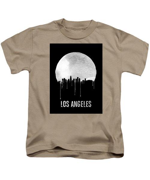 Los Angeles Skyline Black Kids T-Shirt by Naxart Studio