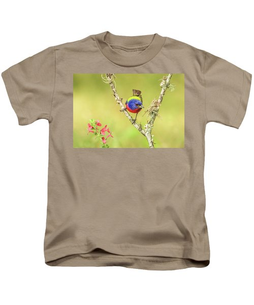 Male Painted Bunting #2 Kids T-Shirt by Tom and Pat Cory
