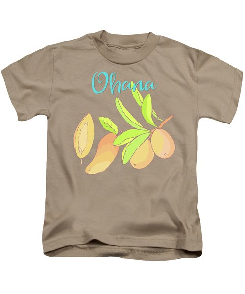 Mango Ohana Tropical Hawaiian Design Of Fruit And Family Kids T-Shirt