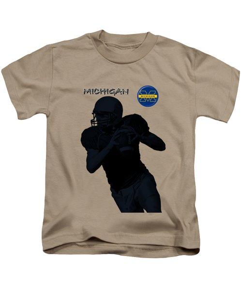 Michigan Football  Kids T-Shirt by David Dehner