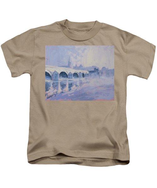Morning Fog Around The Old Bridge Kids T-Shirt by Nop Briex