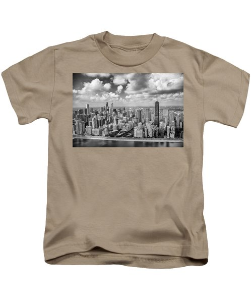 Near North Side And Gold Coast Black And White Kids T-Shirt by Adam Romanowicz