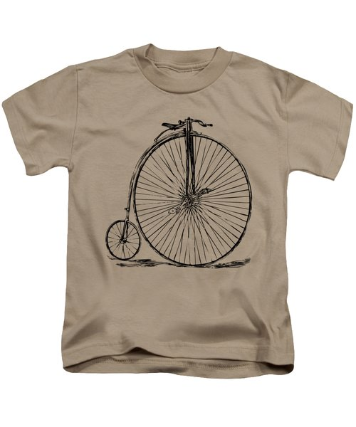 Penny-farthing 1867 High Wheeler Bicycle Vintage Kids T-Shirt by Nikki Marie Smith