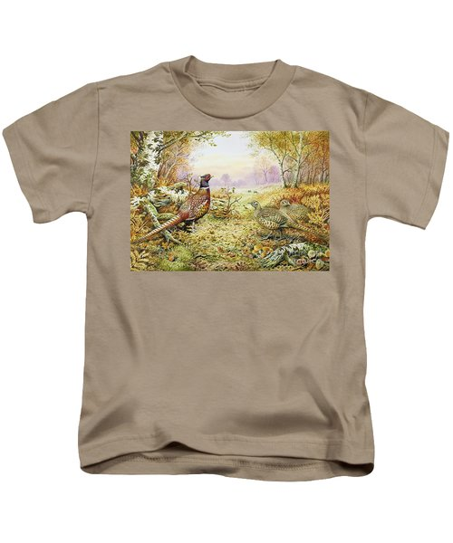 Pheasants In Woodland Kids T-Shirt by Carl Donner
