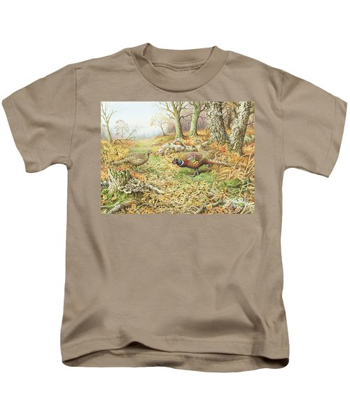 Pheasants With Blue Tits Kids T-Shirt by Carl Donner