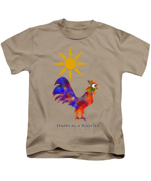 Rooster Pattern Aged Kids T-Shirt by Christina Rollo