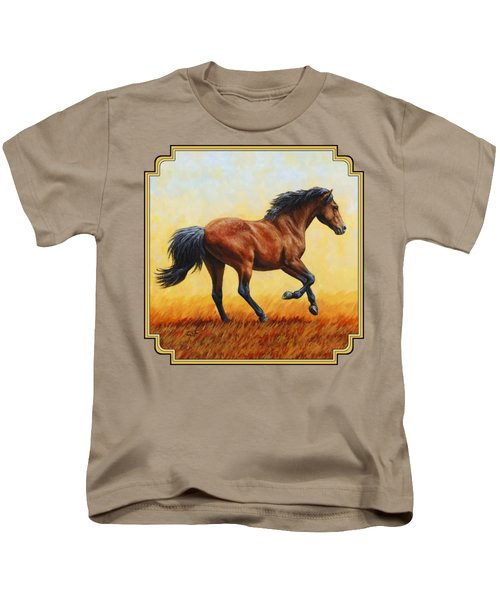 Running Horse - Evening Fire Kids T-Shirt by Crista Forest