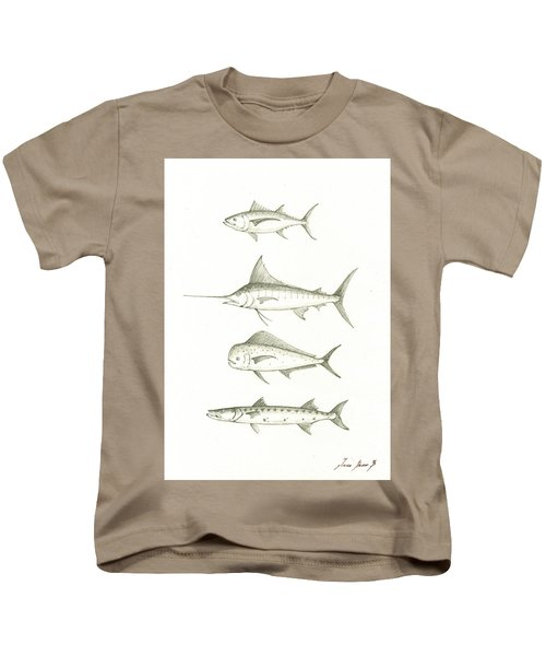 Saltwater Gamefishes Kids T-Shirt by Juan Bosco