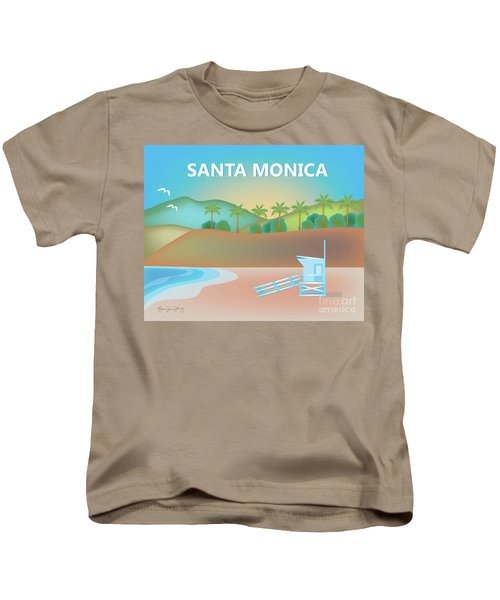 Santa Monica California Horizontal Scene Kids T-Shirt by Karen Young