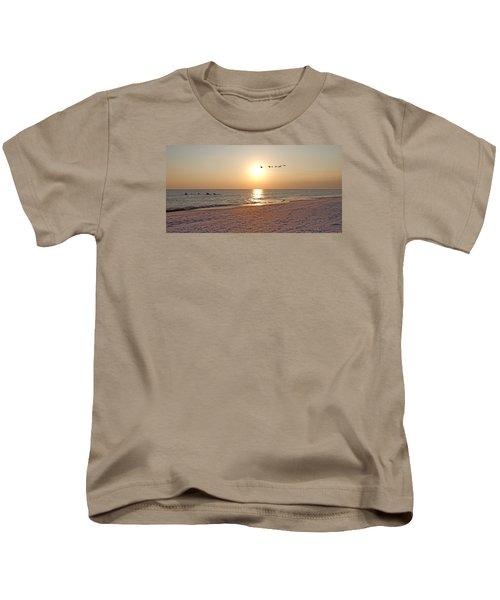 Shackleford Banks Sunset Kids T-Shirt by Betsy Knapp
