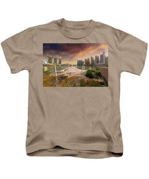 Singapore City Skyline By Marina Bay Sunset Kids T-Shirt