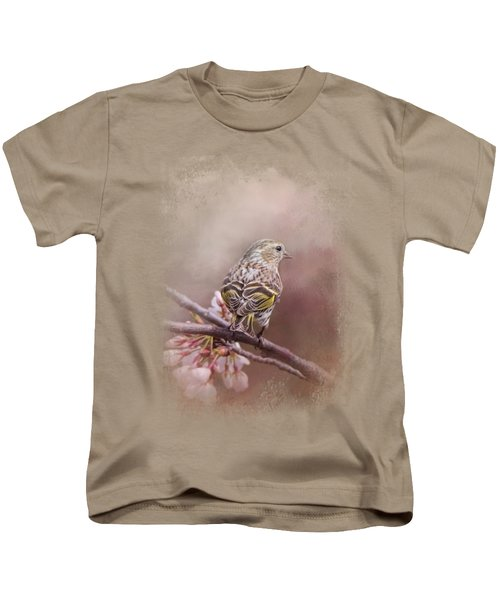 Siskin In The Garden Kids T-Shirt by Jai Johnson
