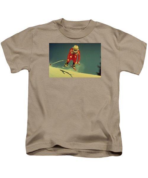 Skiing In Crans Montana Kids T-Shirt