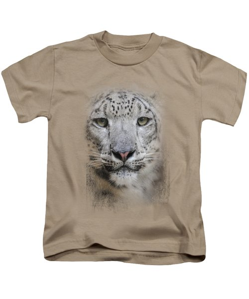 Stare Of The Snow Leopard Kids T-Shirt by Jai Johnson