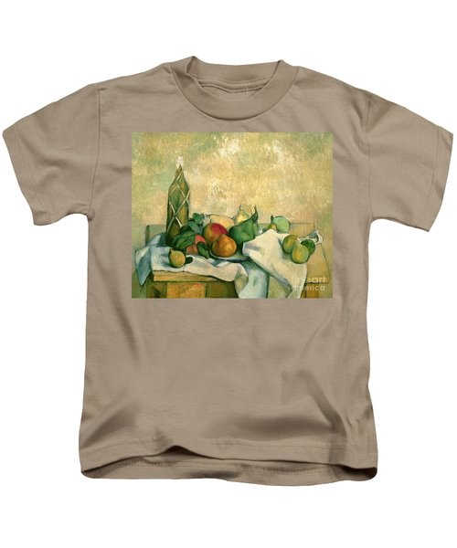 Still Life With Bottle Of Liqueur Kids T-Shirt by Paul Cezanne