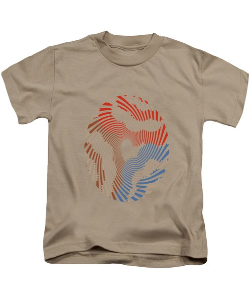 Taupe Ring Pattern Kids T-Shirt by Christina Rollo