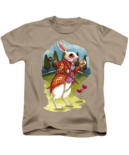 The White Rabbit Is Late Kids T-Shirt by Lucia Stewart