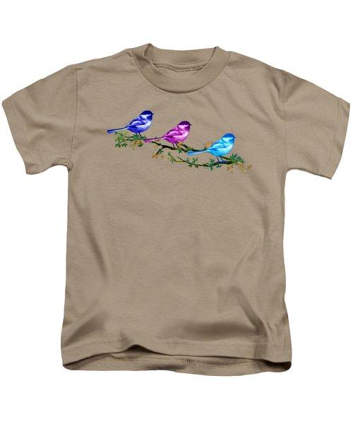 Three Chickadees Kids T-Shirt by Teresa Ascone