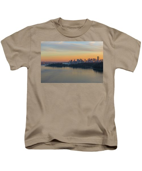 Vancouver Bc Skyline And Stanley Park At Sunset Kids T-Shirt