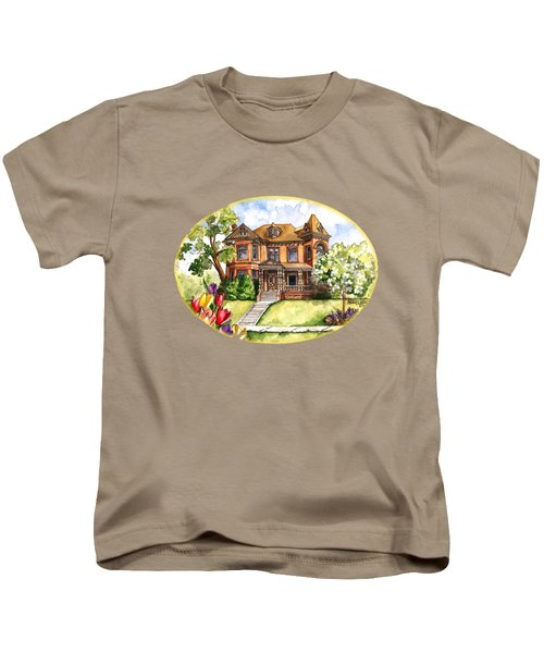 Victorian Mansion In The Spring Kids T-Shirt