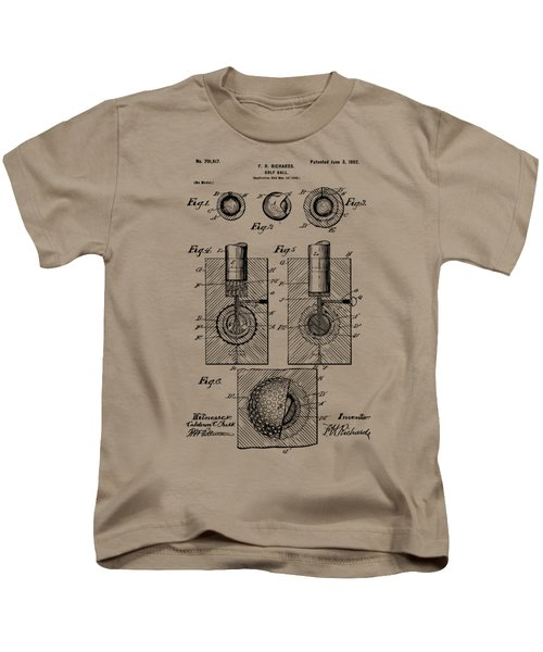 Vintage 1902 Golf Ball Patent Artwork Kids T-Shirt by Nikki Marie Smith