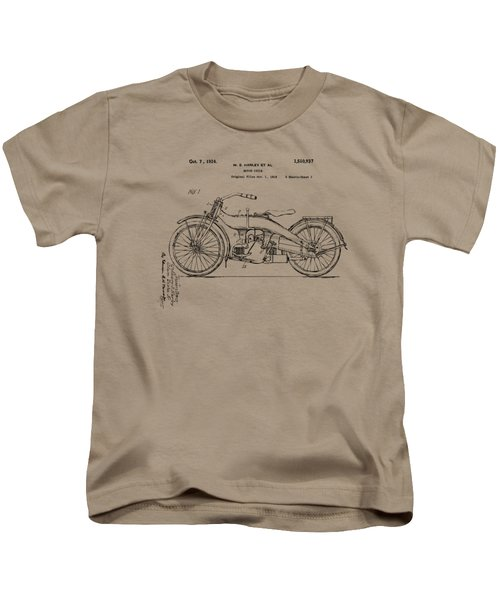 Vintage Harley-davidson Motorcycle 1924 Patent Artwork Kids T-Shirt by Nikki Smith