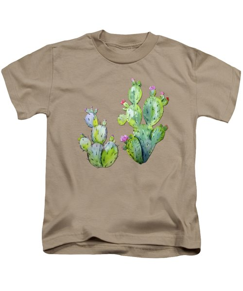 Water Color Prickly Pear Cactus Adobe Background Kids T-Shirt by Elaine Plesser