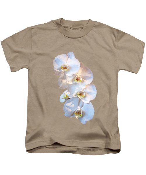 White Orchid Cutout Kids T-Shirt by Linda Phelps