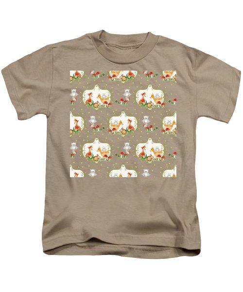 Woodland Fairy Tale - Mint Green Sweet Animals Fox Deer Rabbit Owl - Half Drop Repeat Kids T-Shirt