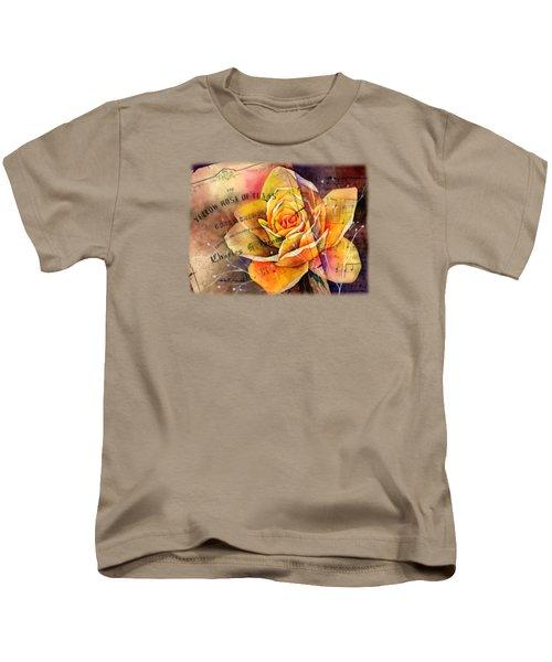 Yellow Rose Of Texas Kids T-Shirt by Hailey E Herrera