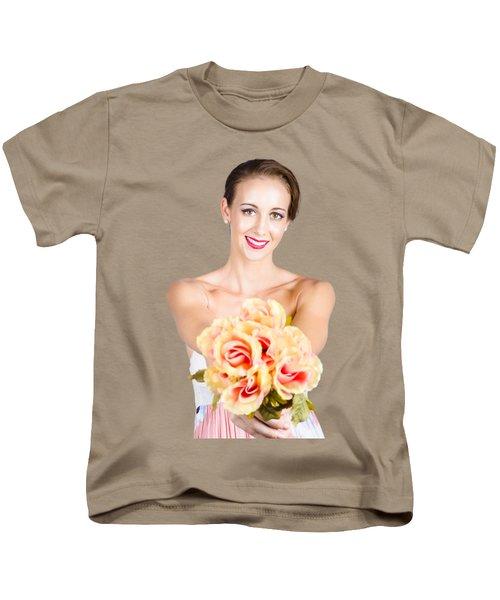 Beautiful Woman Holding Florist Flowers Kids T-Shirt