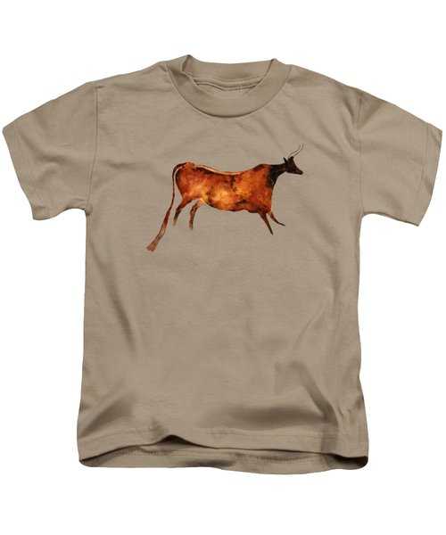 Red Cow In Beige Kids T-Shirt