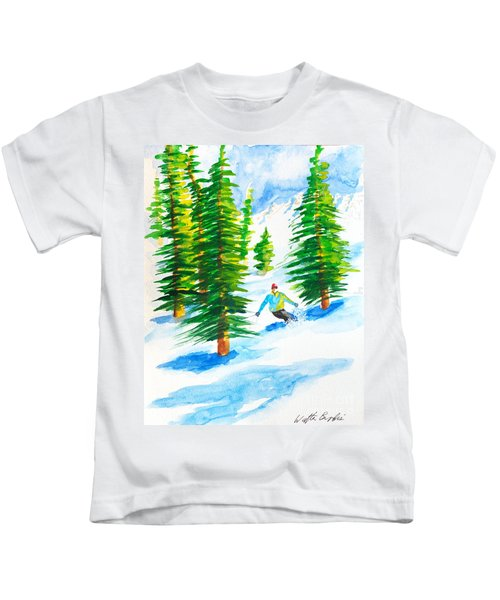 David Skiing The Trees  Kids T-Shirt