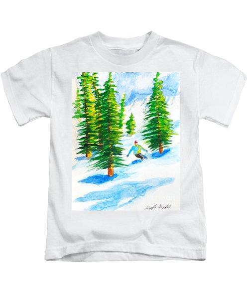 David Skiing The Trees  Kids T-Shirt