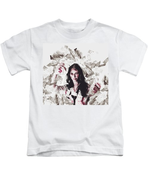 Dead Business Woman In Financial Crisis Debt Kids T-Shirt