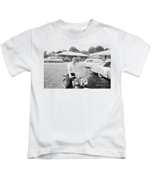 Elvis Presley Sitting On His 1956 Harley Kh Kids T-Shirt